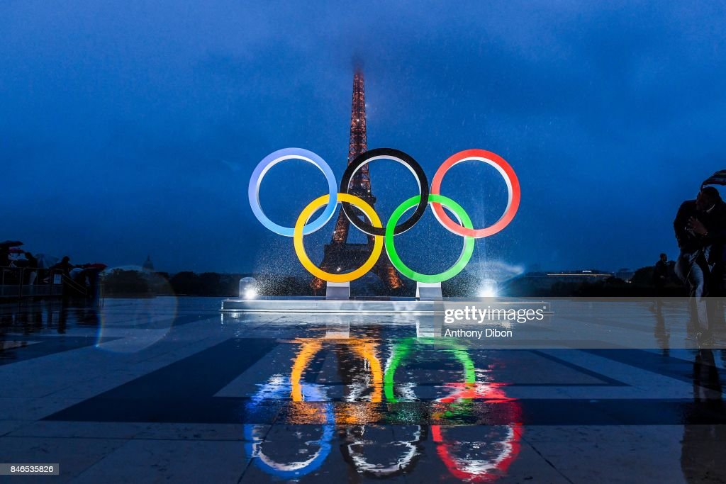 Illustration Eiffel Tower and Olympic Rings during olympic day celebrations for Paris 2024 at trocadero on September 13, 2017 in Paris, France.