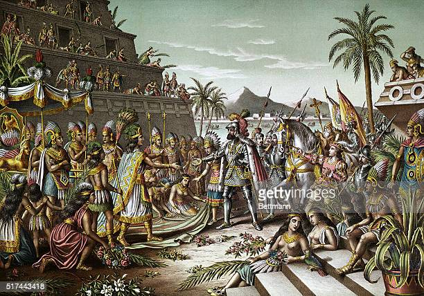 Illustration entitled 'ENTRANCE OF CORTEZ INTO MEXICO' depicting the first meeting of Hernando Cortes and Montezuma November 8 1519 Color lithograph...