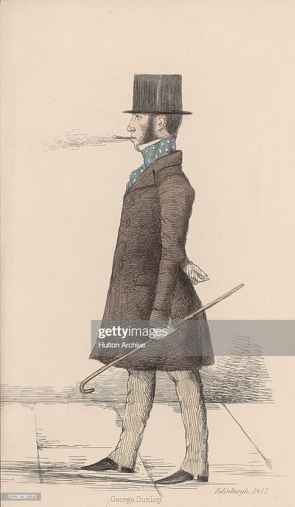 Illustration entitled 'George Dunlop' depicting a man wearing a top hat cravat and coat carrying a cane while smoking a cigarette and walking Great...
