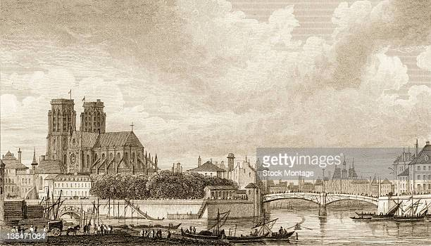 Illustration entitled 'Notre Dame et a Pont Rouge' shows Paris France circa 1830 Visible is NotreDame Cathedral and the Seine River
