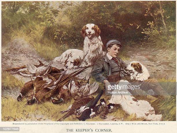 Illustration entitled 'The Keeper's Corner' depicting a man reclining with four dogs and a pile of dead pheasants 1894 A painting by Thomas Blinks