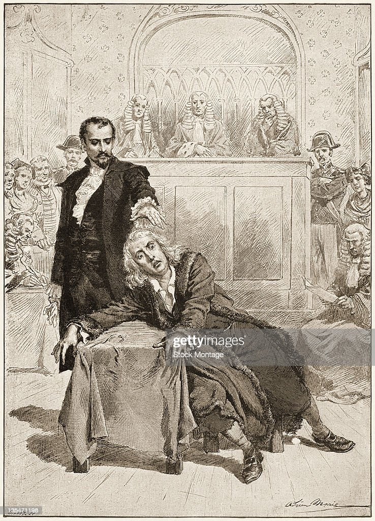 Illustration entitled 'The Mesmerist and Mathias' depicts a hypnotist in a courtroom as he elicts a murder confession from a wideeyed man slumped at...