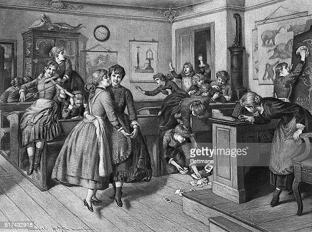 Illustration entitled 'THE TEACHER IS COMING' depicting a classroom full of girls dancing and playing Two girls have run in through the door to give...