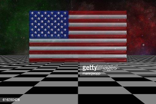 3D Illustration: Flag of USA in steps, on checkered floor : Stock Photo