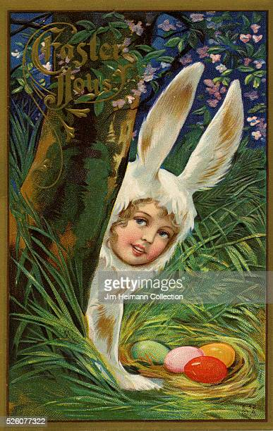 Illustration for 1910s Easter postcard featuring young girl in rabbit costume with colored eggs