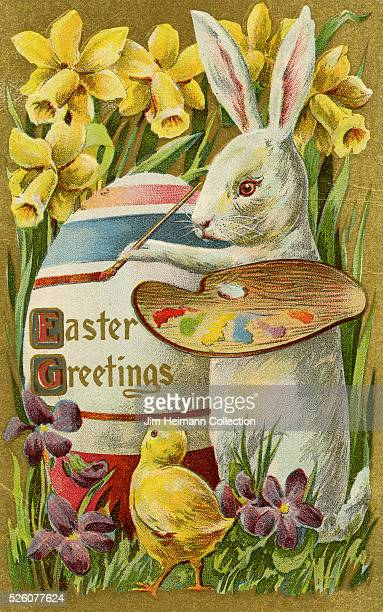 Illustration for 1920s Easter postcard featuring Easter Bunny painting Easter egg
