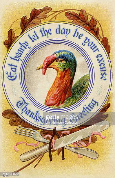 Illustration for 1920s 'Eat Hearty' Thanksgiving postcard featuring plate with turkey fork and knife