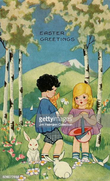 Illustration for 1925 Easter postcard featuring young boy and girl in woods with white rabbits