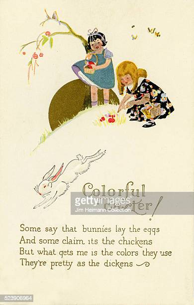Illustration for 1929 Easter postcard featuring young girls on hill gathering easter eggs
