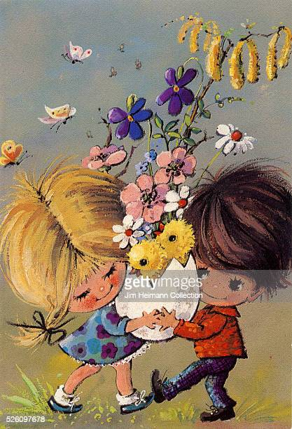 Illustration for 1960s Easter greeting card featuring young boy and girl carrying oversized egg