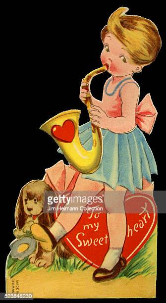 Illustration for a diecut 1930s Valentine's Day card featuring young girl playing saxophone