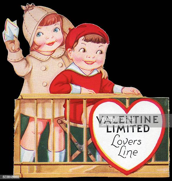 Illustration for a diecut 1935 Valentine's Day card featuring young boy and girl in Lovers Line