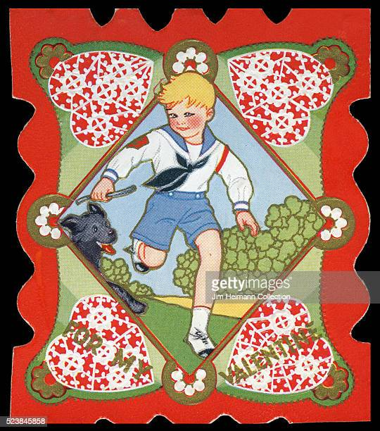 Illustration for a diecut Valentine's Day card featuring boy running with dog