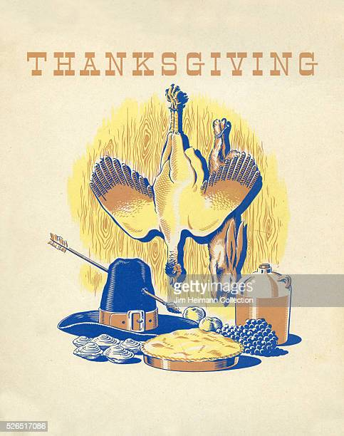 Illustration for a Thanksgiving postcard featuring a tableau of a pie jug of wine pilgrim hat with an arrow through it and a turkey and rabbit...