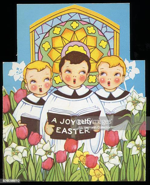 Illustration for diecut 1940s Easter greeting card featuring three choir boys singing in front of stained glass window