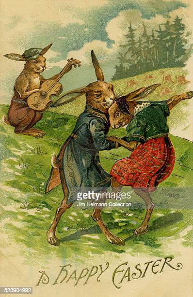 Illustration for Easter postcard featuring rabbit playing guitar and two other rabbits dancing