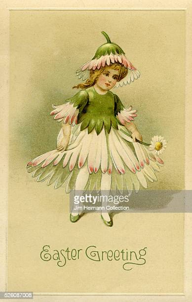Illustration for Easter postcard featuring young girl wearing daisy dress