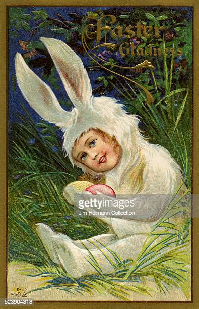 Illustration for Easter postcard featuring young girl wearing rabbit costume and holding colored eggs