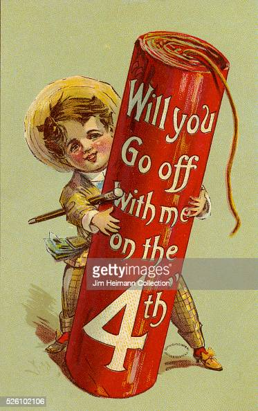 Illustration for Fourth of July postcard featuring young boy holding oversized firework