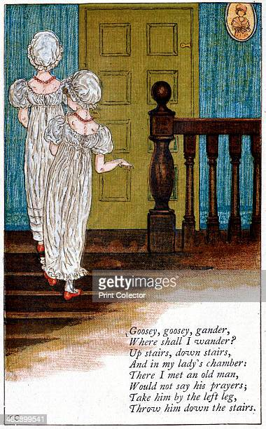 Illustration for 'Goosey goosey gander where shall I wander' Kate Greenaway For a book of nursery rhymes