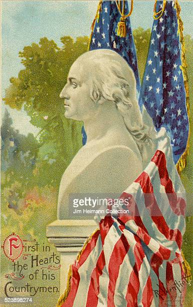 Illustration for postcard for Washington's birthday featuring bust of President George Washington surrounded by American flags