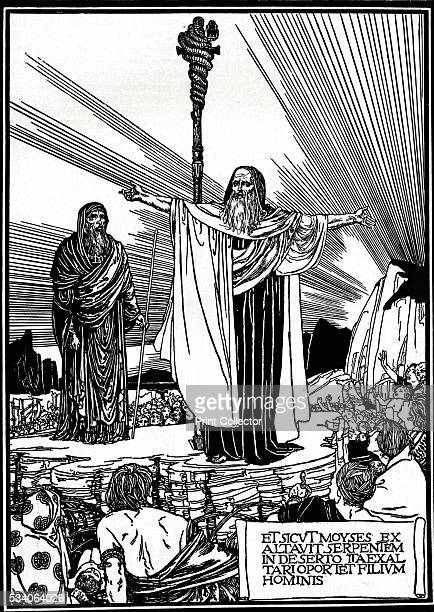 Illustration for The Altar Book' from 'The Studio Volume 9' 1897 'As Moses lifted up the serpent in the wilderness even so must the Son of man be...