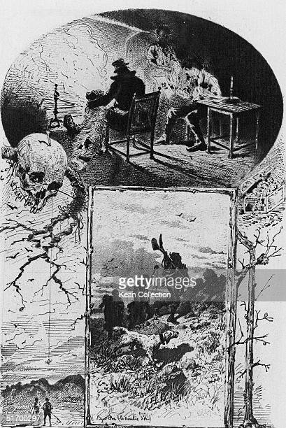 Illustration for the Edgar Allan Poe short story 'The Gold Bug' early 1840s Clockwise from top Three men and a dog gathered in front of a fireplace...