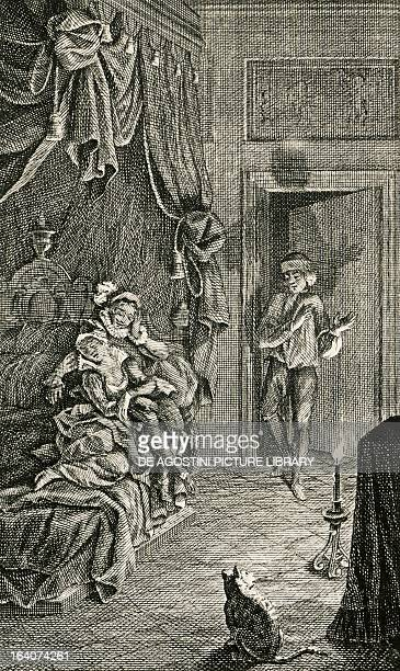 Illustration for The jealous man from Extremadura from Exemplary Novels by Miguel de Cervantes Amsterdam edition 1768