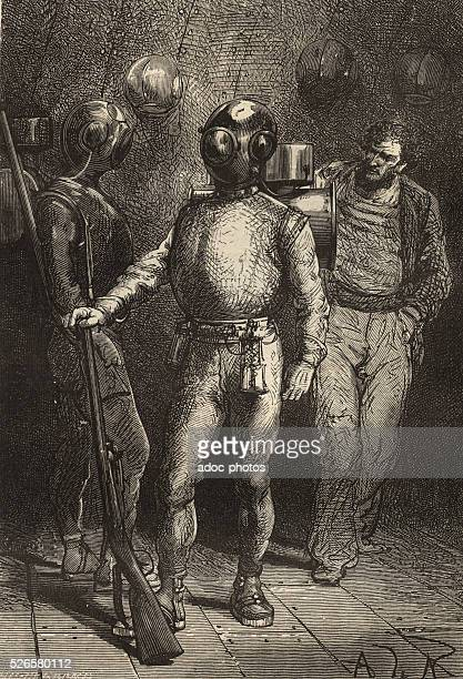 Illustration for the novel 'Twenty Thousand Leagues Under the Sea' by Jules Verne Pierre Aronnax in diver aboard the Nautilus Engraving