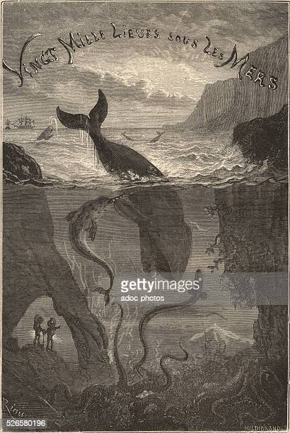 Illustration for the novel 'Twenty Thousand Leagues Under the Sea' by Jules Verne Page of the first edition Hetzel Engraving