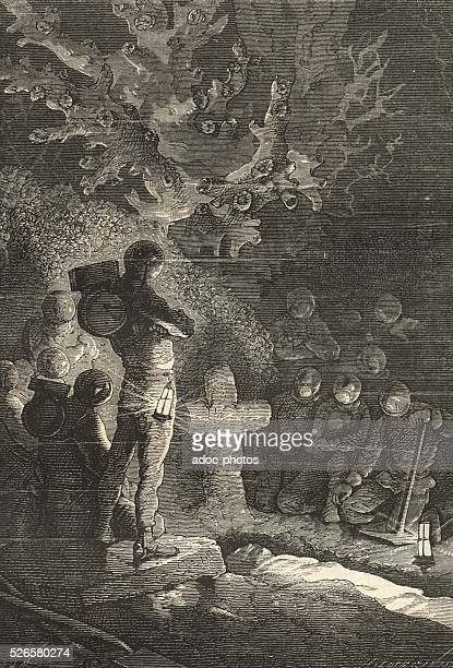 Illustration for the novel 'Twenty Thousand Leagues Under the Sea' by Jules Verne Burial submarine Engraving