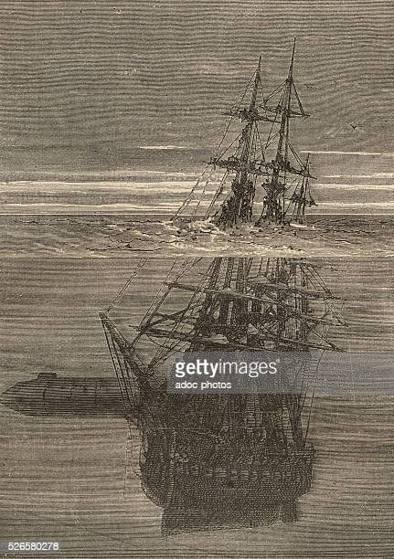 Illustration for the novel 'Twenty Thousand Leagues Under the Sea' by Jules Verne A ship is sinking Engraving