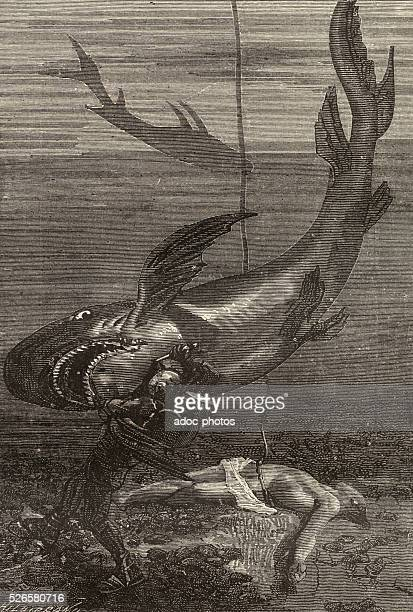Illustration for the novel 'Twenty Thousand Leagues Under the Sea' by Jules Verne Engraving