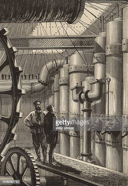 Illustration for the novel 'Twenty Thousand Leagues Under the Sea' by Jules Verne Pierre Aronnax and Captain Nemo in the engine room of the Nautilus...