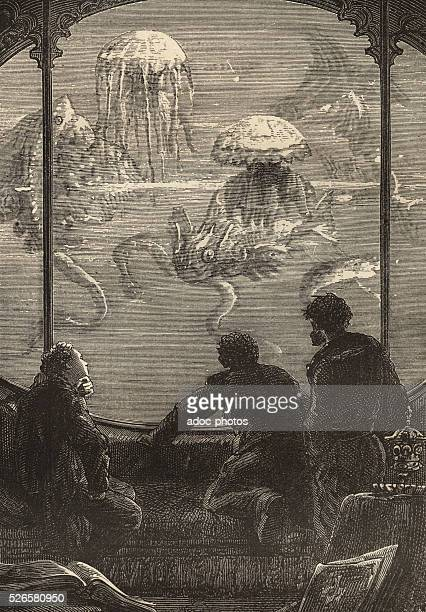 Illustration for the novel 'Twenty Thousand Leagues Under the Sea' by Jules Verne Open window of the submarine Nautilus Engraving