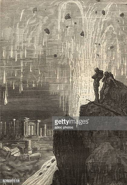 Illustration for the novel 'Twenty Thousand Leagues Under the Sea' by Jules Verne An underwater city destroyed Engraving