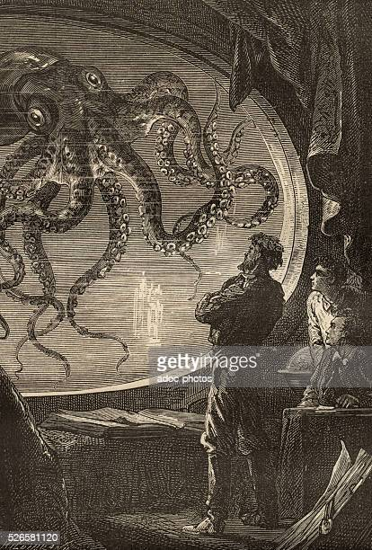 Illustration for the novel 'Twenty Thousand Leagues Under the Sea' by Jules Verne A giant octopus Engraving
