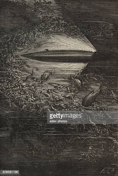 Illustration for the novel 'Twenty Thousand Leagues Under the Sea' by Jules Verne The squids by millions Engraving