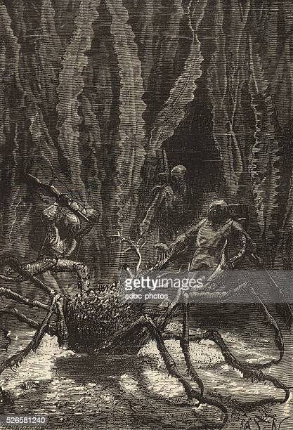 Illustration for the novel 'Twenty Thousand Leagues Under the Sea' by Jules Verne A giant sea spider Engraving