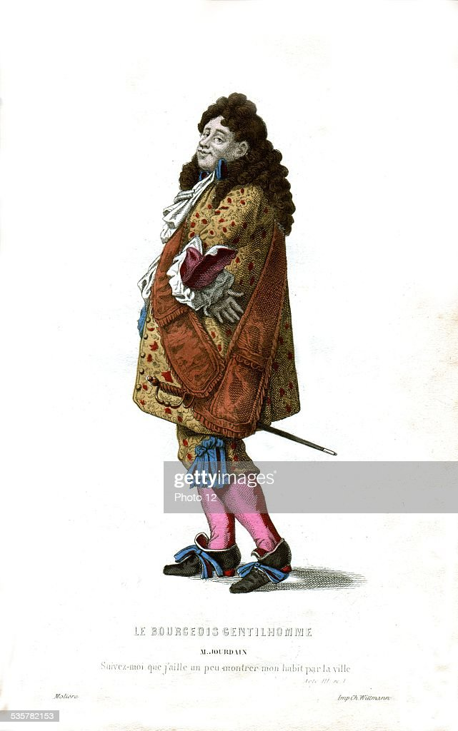 Illustration for 'The Prodigious Snob' ('Le Bourgeois Gentilhomme'), by Molière: Mr. Jourdain, 17th century, France.