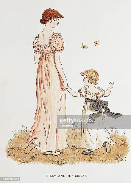 Illustration for 'Willy and His Sister' from Kate Greenaway's Marigold Garden