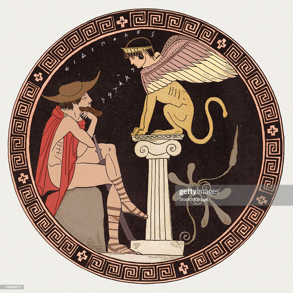 Illustration from a Greek vase depicts Oedipus as he questions the Sphinx in Thebes 5th century BC