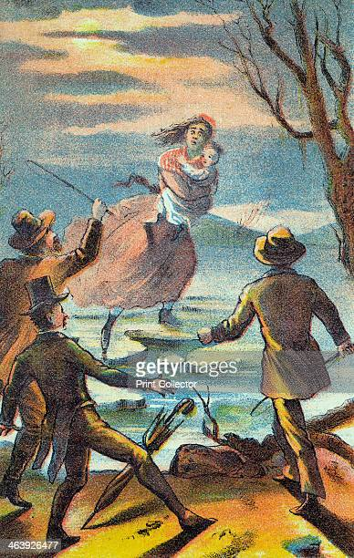 Illustration from a poster advertising a theatrical production of Uncle Tom's Cabin 1870 Eliza carries her son across the Ohio river escaping the...