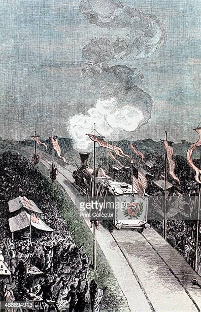 Illustration from De la Terre a la Lune by Jules Verne 1865 A heroes' welcome for the astronauts on their return from the Moon Cheering crowds lining...