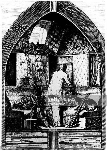 Illustration from De la Terre a la Lune by Jules Verne 1865 Interior of the space capsule on the journey to the Moon From De la Terre a la Lune by...