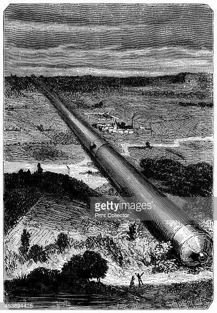 Illustration from De la Terre a la Lune by Jules Verne 1865 The giant cannon used to launch the spacecraft 'Columbiad' from Florida From De la Terre...