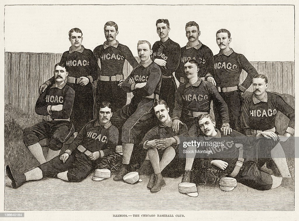 Illustration from Harper's Weekly is a team portrait of the Chicago White Stockings baseball team 1885