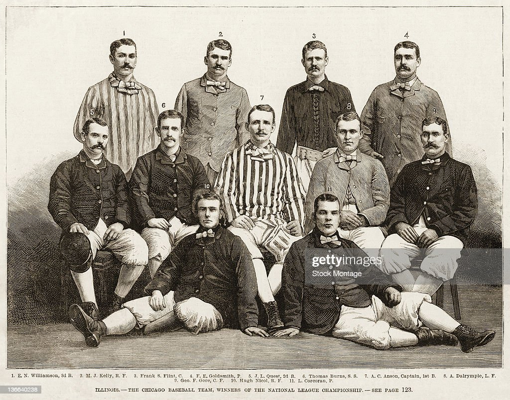 Illustration from Harper's Weekly is a team portrait of the Chicago White Stockings baseball team 1882 The team the National League champions are top...