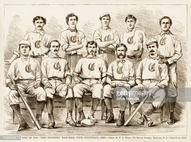 Illustration from Harper's Weekly is a team portrait of the Cincinnati Red Stockings baseball team late 1860s The picture is originally captioned...