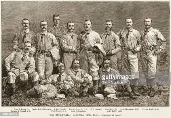 Illustration from Harper's Weekly is a team portrait of the New York Metropolitans minor league baseball team 1882 Pictured are standing from left...